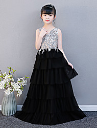 cheap -Princess Sweep / Brush Train Wedding / Party Pageant Dresses - Chiffon Sleeveless Illusion Neck with Petal