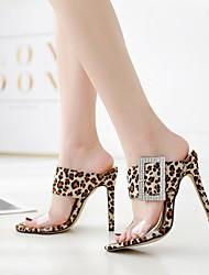 cheap -Women's Sandals Stiletto Heel Round Toe Cowhide Summer Almond / Brown