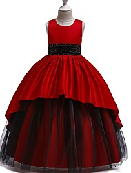 cheap -Princess Round Floor Length Cotton Junior Bridesmaid Dress with Bow(s) / Ruching