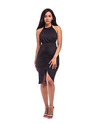 cheap -Women's Going out Club Sexy Sophisticated Sheath Dress - Solid Color Backless Black Royal Blue Khaki S M L XL