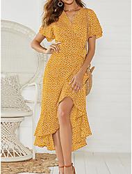 cheap -Women's A Line Dress - Polka Dot Black White Orange S M L XL
