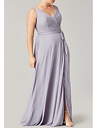 cheap -A-Line V Neck Floor Length Polyester Bridesmaid Dress with Sash / Ribbon / Pleats / Split Front