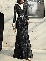 cheap -Mermaid / Trumpet V Neck Floor Length Sequined Glittering / Black Prom / Formal Evening Dress with Sequin / Sash / Ribbon 2020