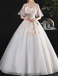cheap -A-Line Wedding Dresses Off Shoulder Floor Length Lace Short Sleeve Beach with Appliques 2020