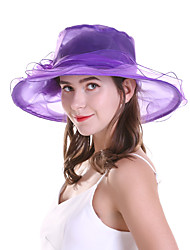 cheap -Women's Party Basic Cute Mesh Lace Sun Hat-Floral Solid Colored Summer Black White Purple