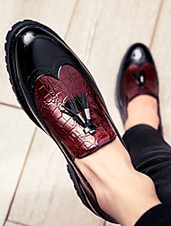 cheap -Men's Patent Leather / PU Spring & Summer / Fall & Winter Business / Casual Loafers & Slip-Ons Walking Shoes Breathable Color Block Black / White / Red / Party & Evening