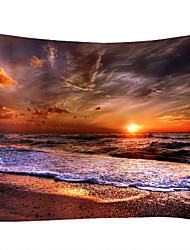 cheap -Wall Tapestry Art Decor Blanket Curtain Picnic Tablecloth Hanging Home Bedroom Living Room Dorm Decoration Landscape Beach Sea Ocean Wave Sunrise Sunset Rosy Cloud