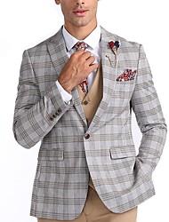 cheap -Men's Suits, Plaid Notch Lapel Polyester Gray