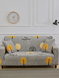 cheap -Grey Leaves Print Dustproof Stretch Slipcovers Stretch Sofa Cover Super Soft Fabric Couch Cover (You will Get 1 Throw Pillow Case as free Gift)