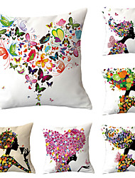 cheap -Set of 6 Polyester Pillow Cover, Butterfly Cartoon Cartoon Punk Square Traditional Classic Throw Pillow