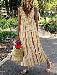 cheap -Women's Maxi Yellow Dress Loose Print Deep V S M Loose
