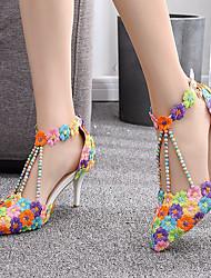 cheap -Women's Wedding Shoes Stiletto Heel Pointed Toe Wedding Pumps Vintage Sexy Minimalism Wedding Party & Evening PU Pearl Buckle Tassel Color Block Rainbow