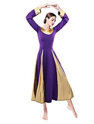 cheap -Ballroom Dance Dresses Women's Daily Wear Leather / Milk Fiber Split Joint Long Sleeve Natural Dress