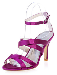 cheap -Women's Wedding Shoes Stiletto Heel Open Toe Satin Minimalism Spring & Summer White / Purple / Champagne / Party & Evening
