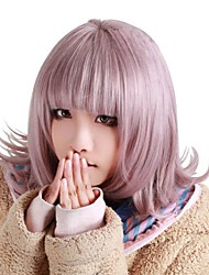 cheap -Synthetic Wig kinky Straight Halloween Neat Bang Wig Pink Short Pink Synthetic Hair 12 inch Women's Best Quality Pink