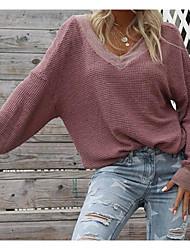 cheap -Women's Pullover Sweatshirt Solid Colored V Neck Streetwear Hoodies Sweatshirts  Loose White Black Purple