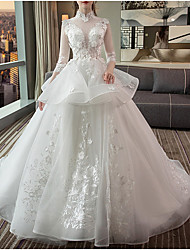 cheap -Ball Gown High Neck Sweep / Brush Train Lace / Tulle Long Sleeve Casual Red / Illusion Sleeve Wedding Dresses with Lace Insert / Appliques 2020