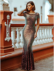 cheap -Mermaid / Trumpet Illusion Neck Floor Length Sequined Sparkle / Red Wedding Guest / Formal Evening Dress with Sequin 2020