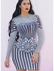 cheap -Women's Sheath Dress - Striped Blue S M L XL