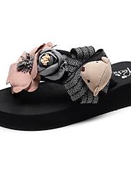 cheap -Women's Slippers & Flip-Flops Flat Heel Open Toe Satin Flower Polyester Casual / Minimalism Walking Shoes Summer Black