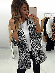 cheap -Women's Blazer, Leopard Notch Lapel Polyester Black