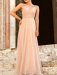 cheap -A-Line Spaghetti Strap Floor Length Polyester Bridesmaid Dress with Ruching