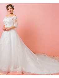 cheap -A-Line Wedding Dresses Off Shoulder Watteau Train Lace Satin Tulle Half Sleeve Formal Plus Size Illusion Sleeve with Crystals Lace Insert Appliques 2020