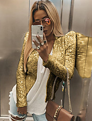 cheap -Women's Daily Regular Jacket, Solid Colored V Neck Long Sleeve Polyester Wine / Gold / Silver