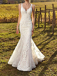 cheap -Mermaid / Trumpet Spaghetti Strap Sweep / Brush Train Polyester Sleeveless Country Plus Size Wedding Dresses with Appliques 2020