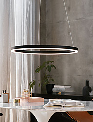 cheap -40cm Circle Design LED Pendant Light Modern Ceiling Light for Dinning Room Bedroom Entry Aluminum Frame with Acrylic Shade in Black White Gold Coffee Colors