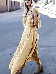 cheap -Women's Maxi Khaki Dress Shift Solid Color Deep V S M Loose
