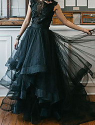 cheap -A-Line Jewel Neck Floor Length Polyester Sleeveless Formal Black / Modern Wedding Dresses with Draping 2020