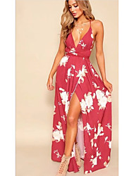 cheap -Women's Swing Dress - Print Wine White Blushing Pink S M L