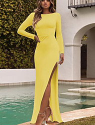 cheap -Women's Maxi Wine Yellow Dress Bodycon Solid Color S M