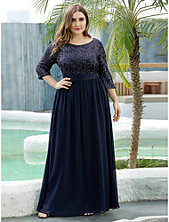 cheap -A-Line Mother of the Bride Dress Elegant Plus Size Jewel Neck Floor Length Tulle Sequined 3/4 Length Sleeve with Sequin 2020