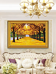 cheap -Framed Art Print Landscape oil painting European Porch Decorative Drawing Room Gold Avenue Get Rich Feng Shui Tree Ready To Hang