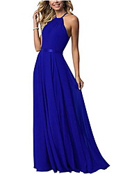 cheap -A-Line Halter Neck Floor Length Chiffon Bridesmaid Dress with Tier