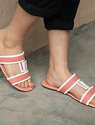 cheap -Women's Flats Flat Heel Open Toe PU Summer Dark Brown / Pink / White