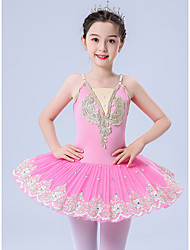 cheap -Kids' Dancewear Gymnastics Ballet Leotard / Onesie Scattered Bead Floral Motif Style Pleats Pearls Girls' Performance Theme Party Sleeveless Tulle Polyester