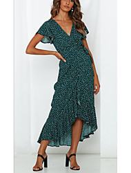 cheap -Women's Maxi Green Light Blue Dress Swing Print V Neck S M