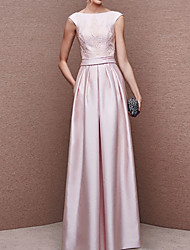 cheap -A-Line Elegant Pink Wedding Guest Prom Dress Boat Neck Sleeveless Floor Length Polyester with Pleats 2020
