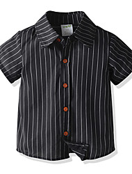 cheap -Kids Boys' Basic Striped Short Sleeve Shirt Black