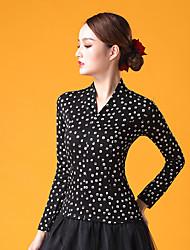 cheap -Ballroom Dance Top Pattern / Print Ruching Women's Performance Long Sleeve Ice Silk