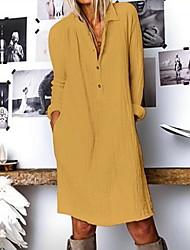 cheap -Women's Khaki White Dress Shift Solid Color Shirt Collar S M