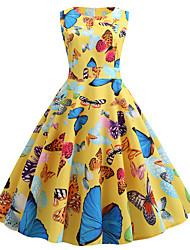 cheap -Women's Yellow Dress Cute Street chic Party Daily Swing Print Butterfly Patchwork Print S M / Cotton