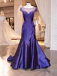 cheap -Mermaid / Trumpet Illusion Neck Court Train Satin Elegant / Blue Engagement / Formal Evening Dress with Appliques 2020