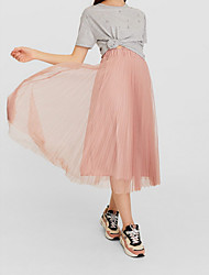 cheap -Women's Daily Wear Basic A Line Skirts - Solid Colored Black Blushing Pink Gray XS S M