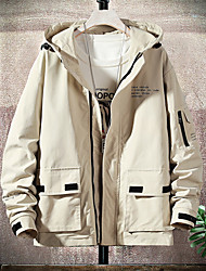 cheap -Men's Daily Basic Spring &  Fall Regular Jacket, Solid Colored Hooded Long Sleeve Polyester Black / Orange / Beige