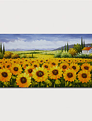 cheap -Hand Painted Canvas Oilpainting Impression Sunflowers Landscape by Knife Home Decoration with Frame Painting Ready to Hang