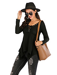 cheap -Women's Daily Basic / Street chic Blouse - Solid Colored Lace up Black